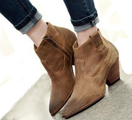 Winter Autumn Boots Nubuck Leather Ankle Women Boots Thick Short Ankle Women Boots Suede Retro Martin Motorcycle Shoes Woman