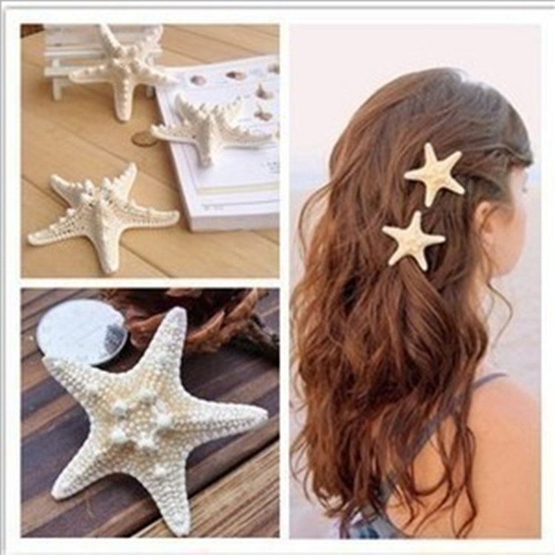 2016 new European hair accessories headdress natural genuine seaside resort starfish hairpin(China (Mainland))