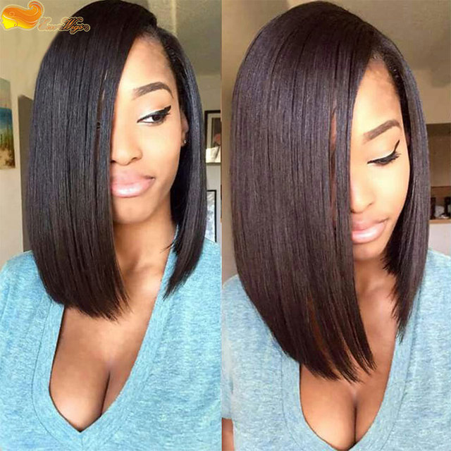 Short Bob Wigs For Black Women Brazilian Virgin Human Hair Straight Side Part Lace Front Bob Wig And Full Lace Bobo Wig