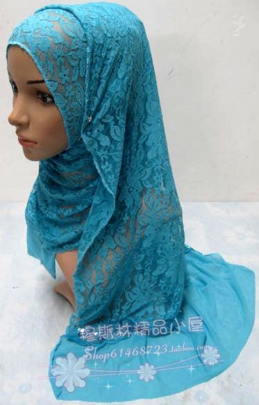Pure Solid Color Flowers elastic lace fashion scarf muslim bandanas hijab hats summer pashmina