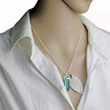 Fioletowy kryształ kwarcowy Chakra naszyjnik z kamienia naturalnego Boho naturalny liść naszyjnik jogi energii uzdrowienie biżuteria(China)