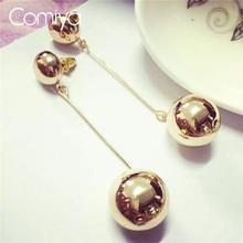 Comiya золотое покрытие круглый шар подвески серьги европейский стильный букле d'oreille металл мотаться серьги индийского ювелирного искусства(China (Mainland))