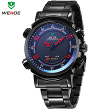 New WEIDE Date Day Alarm Analog Digital LED Dual Time Illuminated Multi purpose Men Sports Watch
