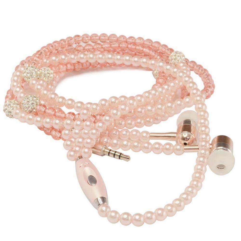 Pink bluetooth mini wireless earphones - necklace earphones wireless bluetooth