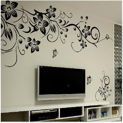 Black Flower Vine Wall Stickers Home Decor Large Paper