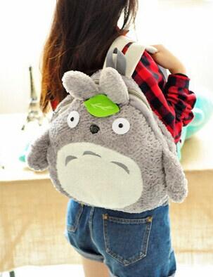 School & Outdoor Backpack ; BIGGER [37*39CM] Fits Lady Girls Kids & Adult Kawaii Green Leaf TOTORO Plush Backpack Shoulder BAG(China (Mainland))