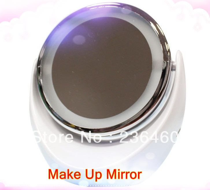 15x magnification l e d lit flip vanity mirror two sided. Black Bedroom Furniture Sets. Home Design Ideas