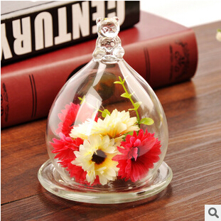 Super Meng cute little bear glass cover micro landscape landscape immortalized flower vase glass(China (Mainland))