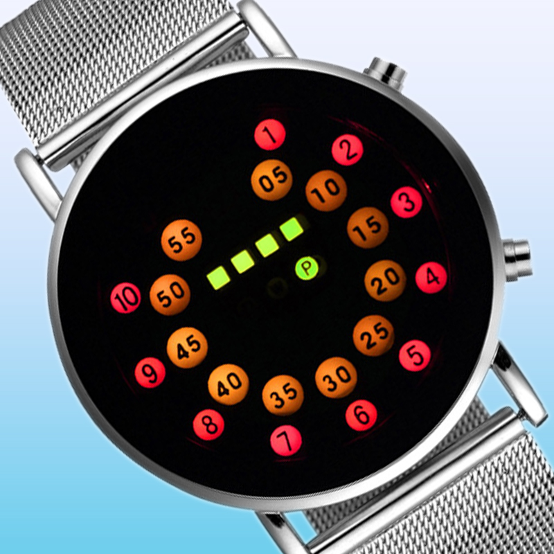 Fashion Cool Men Clock Watch Iron Man Blue LED Watches Luxury Stainless Steel Binary Bracelets & Bangles Wristwatch Gift(China (Mainland))