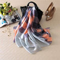 180x90 Women Pure Silk Scarf Digital Printing Brand Big size Shawls Luxury Brand sjaal Long Soft