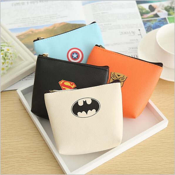 Korean Creative Heroes League theme Personalized Mini coin bag Purse PU material Key Wallet Multi-Function portable Storage Bag(China (Mainland))