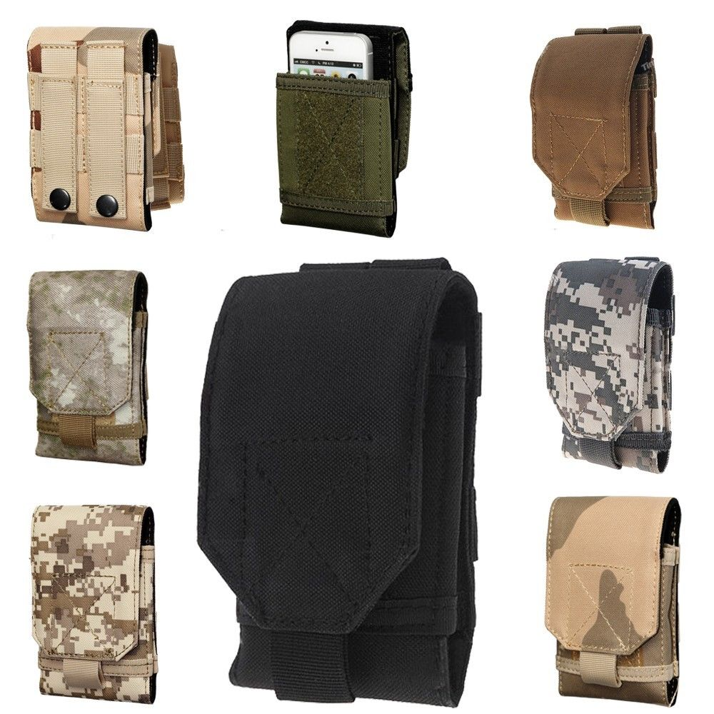 Mobile Phone Bag MOLLE Army Camo Big Lenovo Lephone Multi Model Fit Hook Loop Belt Pouch Holster Cover Case - Deal Special store