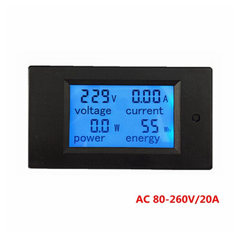1pcs New Voltage Current Power Energy meter AC 80-260V/20A voltmeter Ammeter blue backlight  for indoor overload alarm function<br><br>Aliexpress