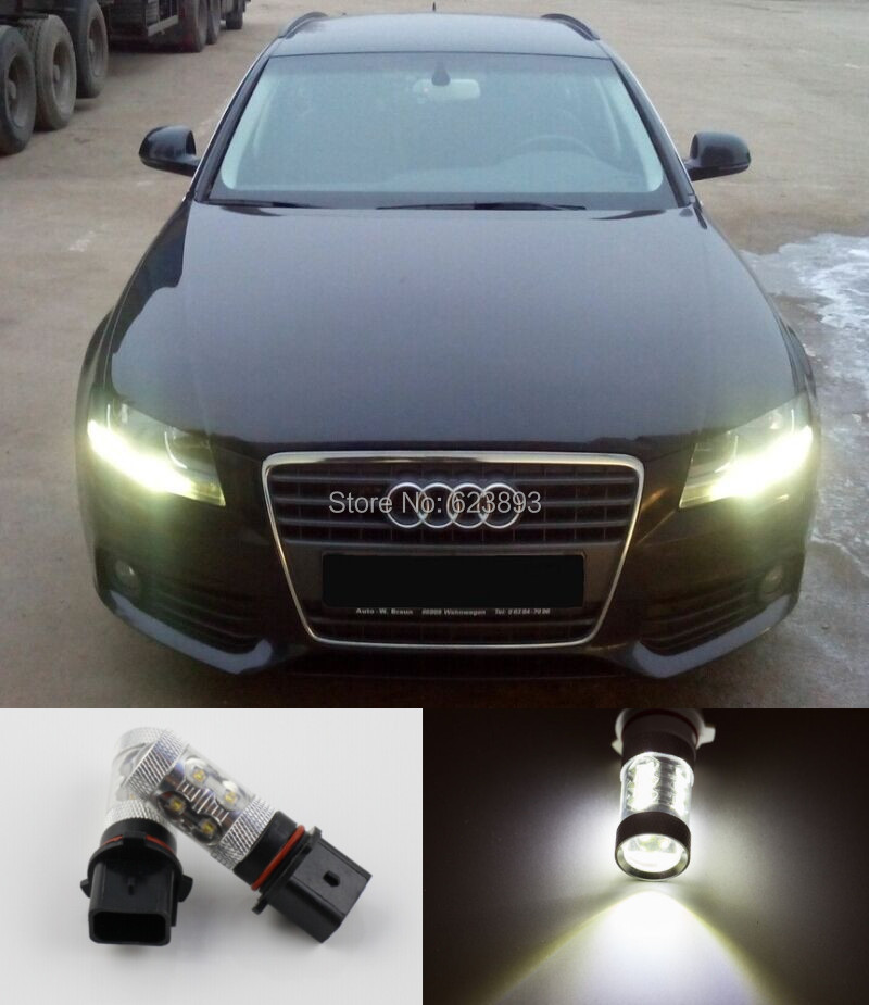 Error Free White 50W CREE LED Daytime Running Lights DRL Bulbs For 2008-2012 Audi B8 model A4 or S4 with halogen headlight trims(China (Mainland))