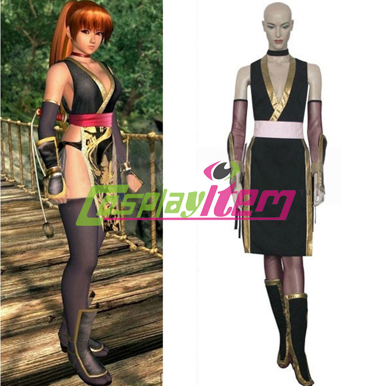 Hot selling Customized movie Dead or Alive Kasumi (Black) Cosplay Costume for women