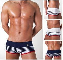 2016 Maillot Homme Men Swimwear Boxer Free Shipping Summer New Swiming Trunks Navy Style Mens Sexy Swim Stripe Swimwear Fashion