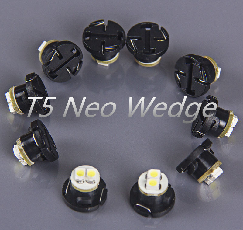 10x T5 White 12mm Neo Wedge LED Light A/C Climate Control Ligh/Dash Switch Light/ Instrument Panel Lamps Gauge Bulbs 2-3528-SMD(China (Mainland))
