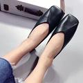 2017 New Black Brown Beige Square Toe Flat Shoes Women Zapatillas Mujer Mocasines Mujer Loafers Women