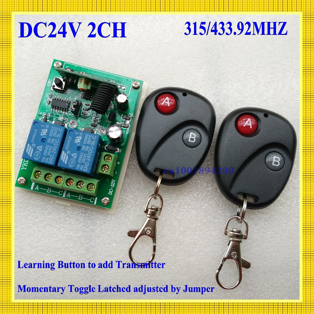 24V DC 2CH  10A Relay Wireless Remote Control Switch Receiver Transmitter Learning 315/433 Normally Open/Closed Door Access LED<br><br>Aliexpress