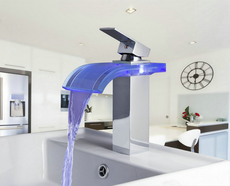 3 Piece Bathroom Sink Faucet : Colors Change Bathroom Basin Sink Faucet Contemporary Waterfall ...