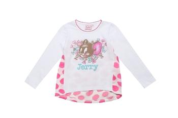 2016 Fashion brand omika Autumn Children kids Girl Clothes Long Sleeve Girls Cartoon Jerry T-Shirts Rhinestone Cotton Knit Tops