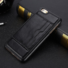 coque for iphone 6 S 6s iphone6 Case men Luxury Retro Plastic + PU leather Hard Back cover for iphone 6 s with card slot & stand