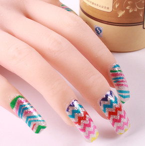 hot sale 1 sheet new fashion nail art decal D.I.Y manicure cute beauty wave pattern 3D nail art stickers wholesale(China (Mainland))