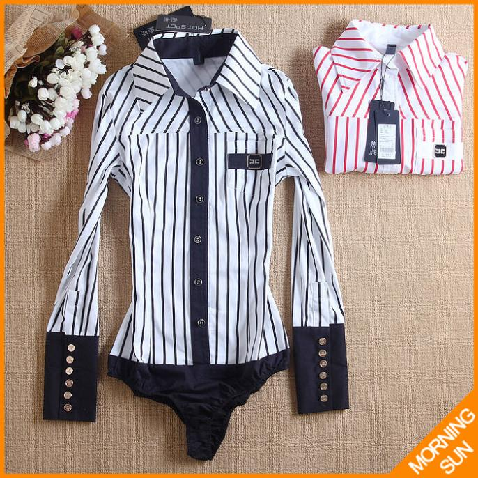 fashion 2014 Korean style Slim vertical striped long-sleeved black red color winter conjoined shirt office lady #4002 - MORNING STAR's store