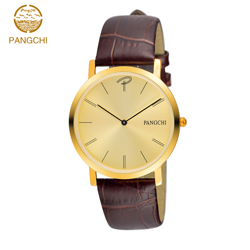 high quality nice watch brands promotion shop for high quality brand pangchi quality fashion casual thin couple watch steel case genuine leather gold silver nice gift for men women reloj 2169