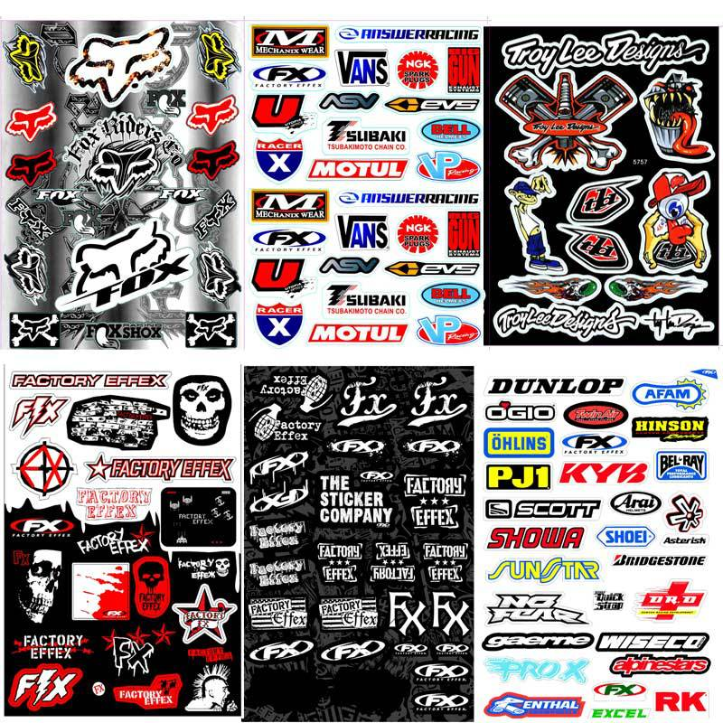 A4 Size Fox Head Skull Glossy Film Stickers For Motorcycle BIKE CAR UNIT SCOOTER FUNNY DECALS Waterproof PVC Whole Set STICKERS(China (Mainland))
