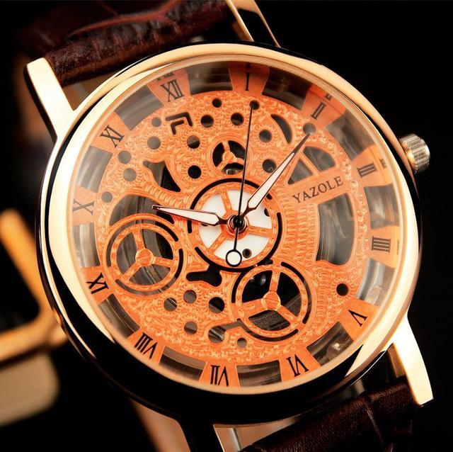 Скелет часы мужские кварцевые - часы известная марка топ роскошные наручные часы кварцевые наручные часы бизнес Relogio Masculino