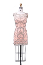 Cocktail Dresses 2015 Luxury Elegant With Straight Scoop Neck Sleevess Heavy Beaded Tulle Robe de Cocktail Short Party Dresses(China (Mainland))