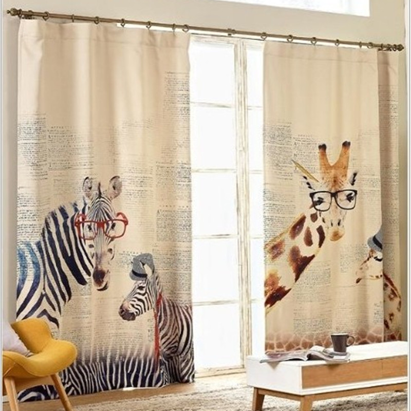 living room zebra giraffe childenr linen curtains for bedroom curtains