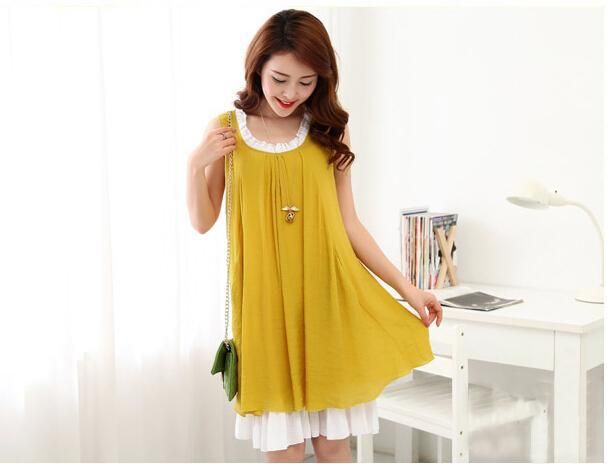 summer style ! 2015 new Korean version fashionable linen cotton maternity dress sleeveless pregnant women - Sindax CO-LTD store