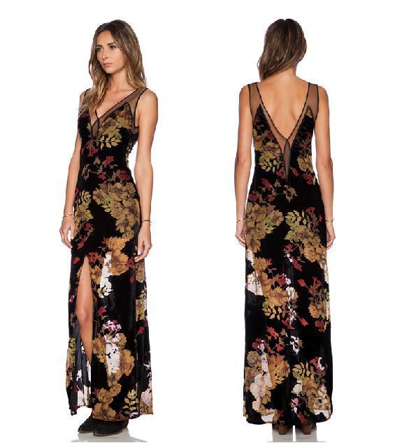 春夏ドレス 2015新しい セクシー な ドレス v ネック ネット糸スプライシング ファーカル女性シフォン ドレス lipsy プリント羽目板メッシュ ドレス