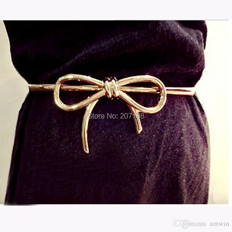 100 piece lot gold plate metal bow dress belt high quality elastic in black white