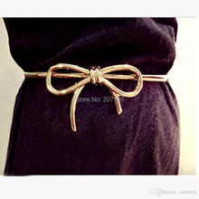 (100 piece/lot) gold plate metal bow dress belt