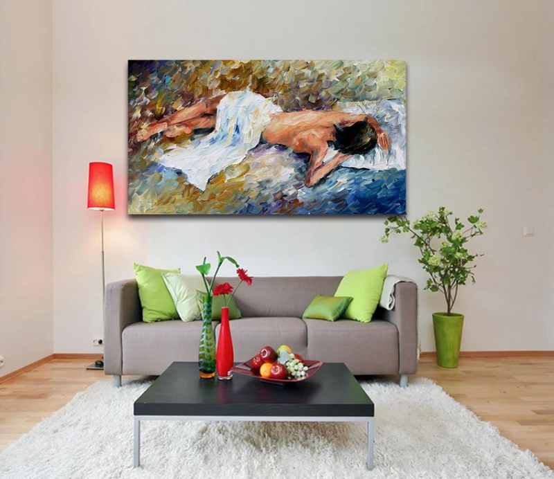 Resting -100% Handpainted Palette Knife Painting Sexy Nude Girl Figure Drawing Unframed Wall Hanging for Home Hotel Decoration(Hong Kong)