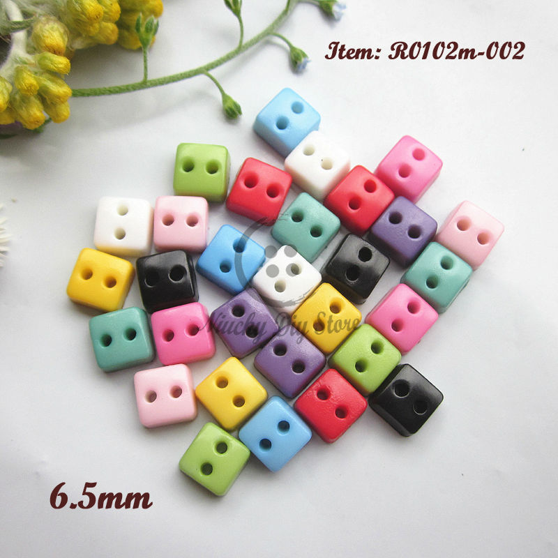 Mini buttons 250pcs 6.5mm Square tiny doll buttons 5mm * 5mm mixed color resin small buttons products for sewing and crafts(China (Mainland))