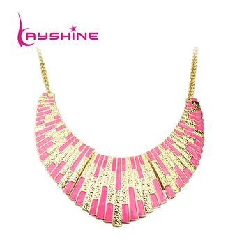 Wholesale Top Selling Pink Enamel Bib Collar Esmalte Geometric Necklace Women Bijuterias Altin Kolye