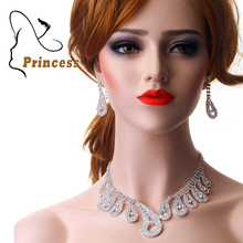 2015 Peacock Tail Designs Crystal  Elegant Rhinestone Necklaces Earrings Bridal Jewelry Sets For Wedding Bride Party B18 A006(China (Mainland))