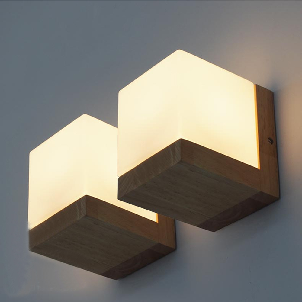 Wooden Cube Wall Lights : bedside wall light Picture - More Detailed Picture about Modern Oak Wood Wall Lamps Cube Sugar ...