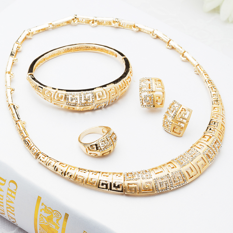 2015 Lady Gold Plated Jewelry Africa Wedding Dress Accessories Big Chocker Necklace Set Fashion 18k J069 - Verynice store