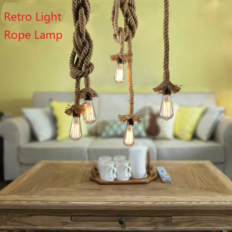 Creative Retro Light Rope Lamp Top Tray E27 LED Pendant Suspension Vintage Industrial Lights Decor - JC Home & Garden store