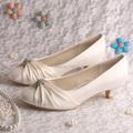 Wedopus Custom Handmade Cream Bridesmaid Shoes Low Heeled Pumps Closed Toe