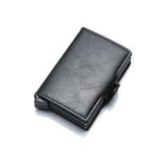 DIENQI de calidad superior billetera seca para hombre bolsa de dinero Mini monedero de aluminio para hombre Rfid portatarjetas cartera pequeña billetera inteligente delgada Vallet(China)