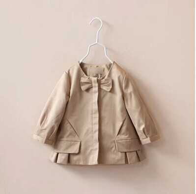2014 new fall European American style girl bow princess trench coat baby girls khaki classic jacket children outwear