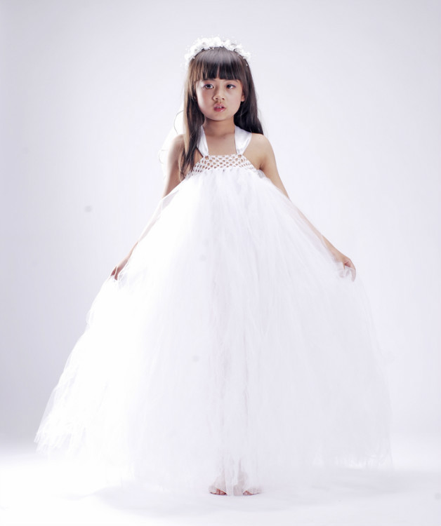 Vestidos де Comunion Дешевые Белый Тюль Линия Цветок Девочки Платья 2016 Секси Дети Изображения Pageant Платья для Маленьких Девочек
