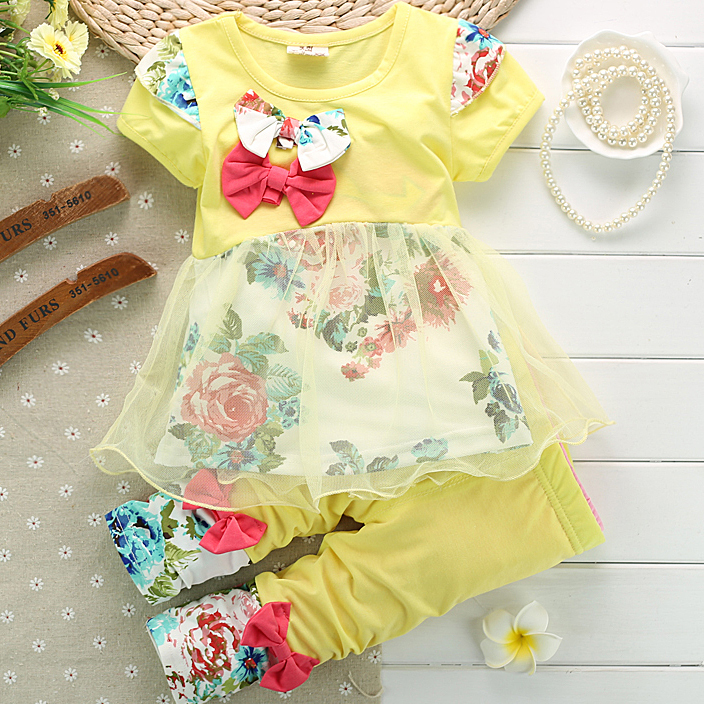 2014 Autumn Cotton Baby Girl Clothing Sets O-neck T Shirt+7 Min Pants Newborn Clothes Cute Girls Wear - Rocky's House store