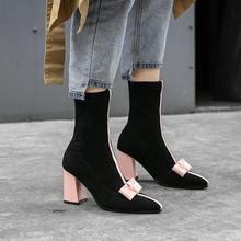 Siyah Sarı Pembe Sivri Burun yarım çizmeler Kadınlar için Moda Yay Karışık Renkler Kalın Yüksek Topuk Kış Ayakkabı Kadın Çorap Botları(China)